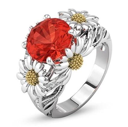 7a2c1f30b96e Amazon.com  Orange Color Round Jacinth Ruby Daisy Charm Ring 925 ...