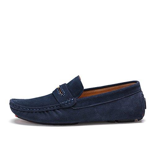 Sunrolan Heren Casual Suède Loafers Slip Op Platte Mocassins Penny Loafer Casual Boot Drijfschoenen 0057 Marine Blauw