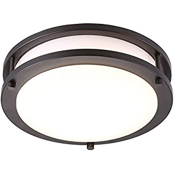 Cloudy bay led flush mount ceiling light10 inch17w120w equivalent dimmable 1150lm3000k warm whiteoil rubbed bronze round lighting fixture for kitchen