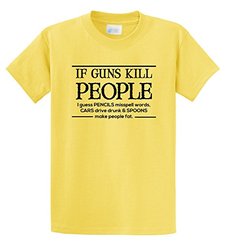 Comical Shirt Men's If Guns Kill People Pencils Misspell Words.. Funny Yellow 2XL (Funny Yellow People T-shirt)