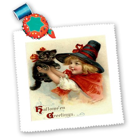 qs_47024_2 Taiche - Vintage Poster - Halloween - Halloween Greetings - cat, cute, girl, costume, halloween, trick or treat, witch - Quilt Squares - 6x6 inch quilt square