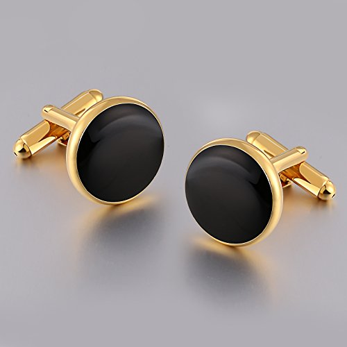Aienid Cufflinks Black for Men Cufflinks and Studs Set Gold Stainless Steel Accessories Shirt Business by Aienid (Image #2)
