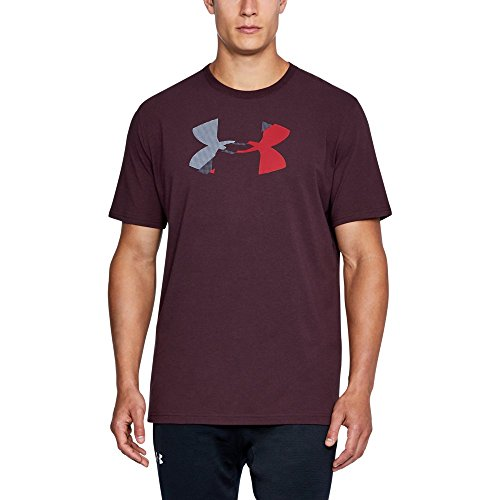 Under Armour Men's Glitch Logo T-Shirt, Raisin Red/Green Typhoon, XX-Large