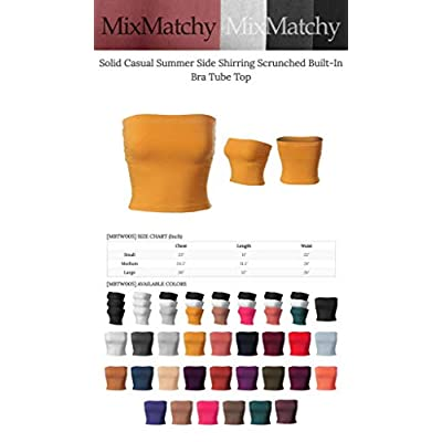MixMatchy Women's Solid Casual Summer Side Shirring Scrunched Built-in Bra Tube Top: Clothing