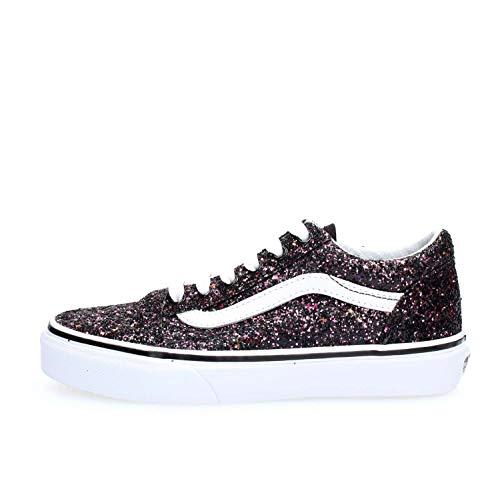 Vans Kids Girl's Old Skool (Little Kid/Big Kid) (Glitter Stars) Black/True White 3 M US Little Kid]()