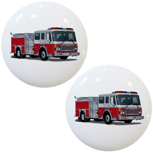 Set of 2 Fire Engine Truck Ceramic Cabinet Drawer Knobs ()