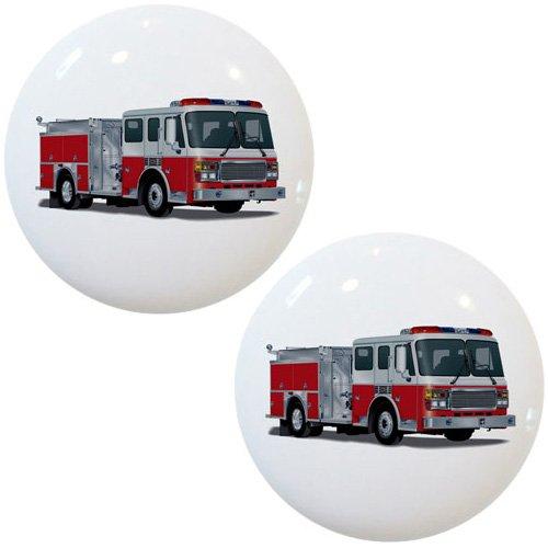 Set of 2 Fire Engine Truck Ceramic Cabinet Drawer Knobs