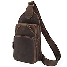 Tiding Vintage Genuine Leather backpack Purse Men Cool Sling Backpack For Sport
