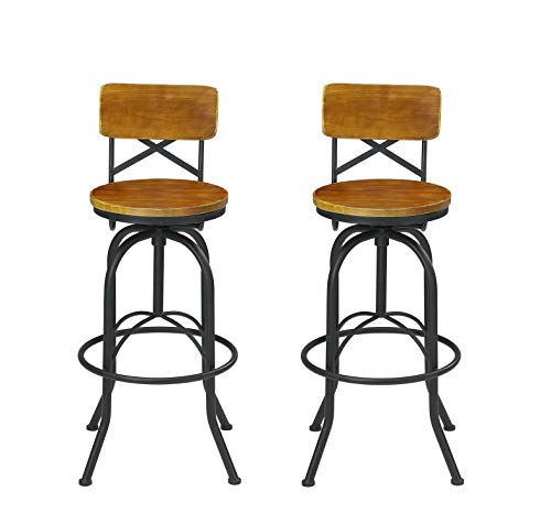 VILAVITA Set of 2 25.6 Inch to 29.6 Inch Adjustable Round Wooden Bar Stools with Backrest, Retro Finish Bar Chairs with Wooden Seat and Wrought Iron Frame Swivel Bar Stool