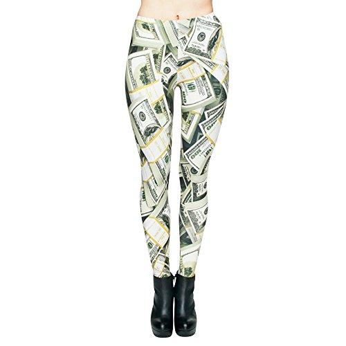 Festie Fever Buttery Soft Printed Pattern Womens Leggings (Money)