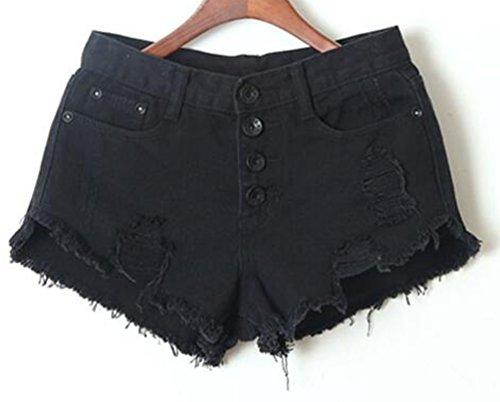 Beach Denim Estivi Pulsanti Corti Estate Strappato Con Pantaloni Pantaloncini Skinny Casual Hot Nero Slim Jeans Strappati Donna Fit Shorts Pants wUPzq