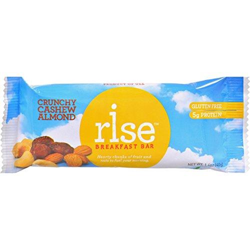 Breakfast Crunchy - Rise Bar Breakfast Bar - Crunchy Cashew Almond - Case of 12 - 1.4 oz