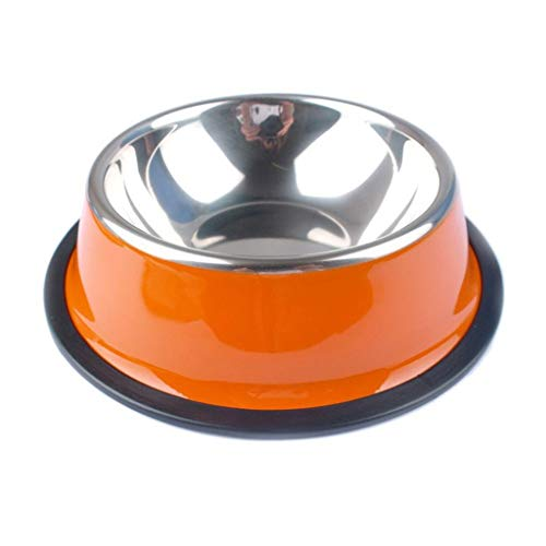 Stainless Steel Pets Dog Bowl Travel Food Bowls for Cats Dogs Pink Outdoor Drinking Water Pet Dog Cat Bowls Dish Feeder Tableware (Color : Orange, Size : ()