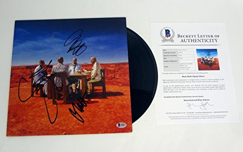 (Muse Entire Band Signed Autograph Black Holes And Revelations Vinyl Record Album Beckett BAS COA)
