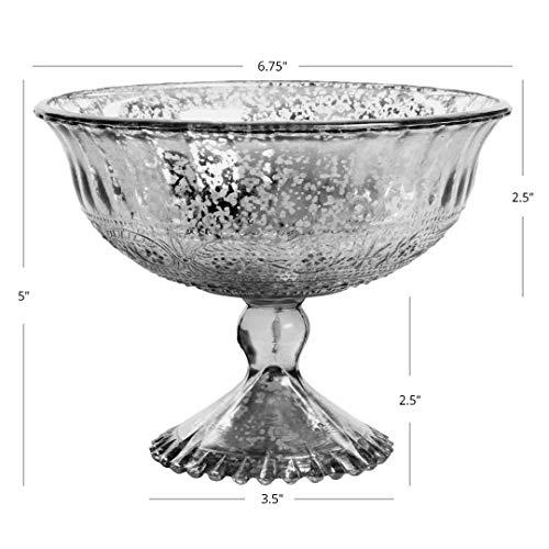 """Koyal Wholesale Compote Bowl Centerpiece Mercury Glass Antique Pedestal Vase, Floral Centerpiece, Wedding, Bridal Shower, Home Décor (7"""" x 5"""", Aqua Blue)"""