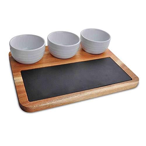 Wooden Snack Board Tray Set - Modern Rectangular Acacia Wood Food Serving Platter w/ Flat Black Natural Slate Slab Stone Plate, Three Ceramic Bowls - Serve Sushi, Appetizer, BBQ - NutriChef PKSNKB10