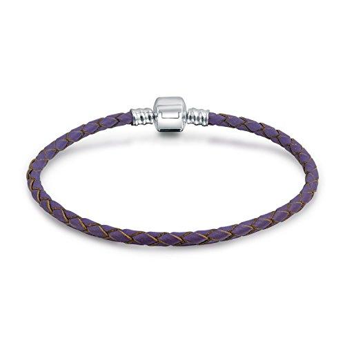 Purple Braided Genuine Leather Starter Charm Fits European Beads Bracelet For Women 925 Sterling Silver Barrel ()