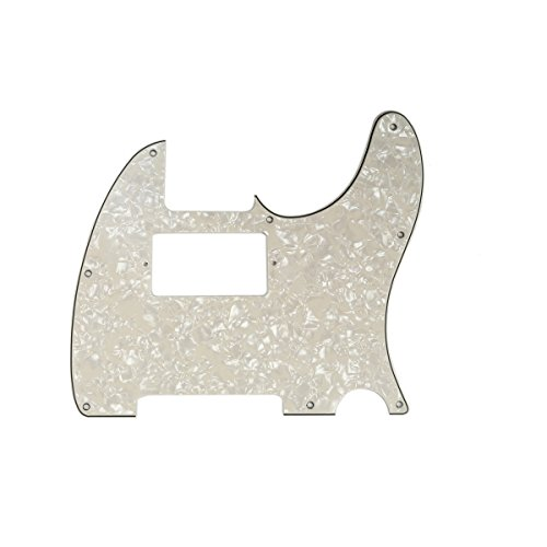 Musiclily 8 Hole Guitar Telecaster Pickguard Humbucker HH Scratch Plate for Fender USA/Mexican Standard Tele Parts, Parchment Pearl 4ply