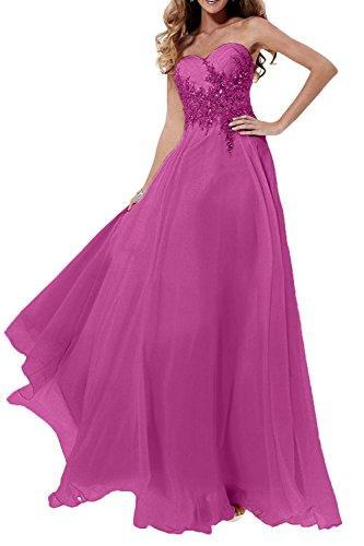 Abendkleider Braut Langes Steine La Jugendweihe Damen Kleider Marie mit Chiffon Pink Abschlussballkleider CxA5R