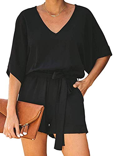 (Jug&Po Women's Summer Casual High Waist Beach Short Sleeve Jumpsuit Loose V Neck Solid Rompers with Bow Belt(Black Small))