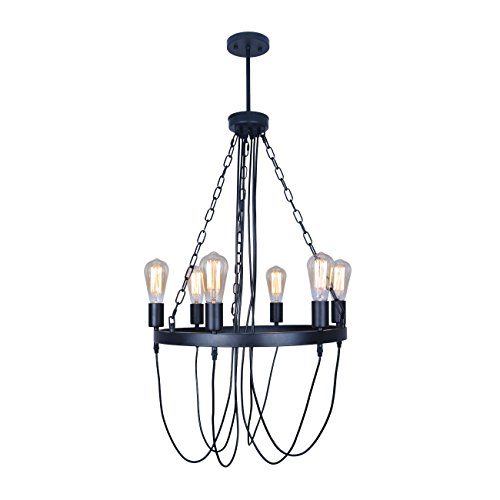 Unitary Brand Antique Black Round Wrought Iron Dining Room Chandelier with 6 E26 Bulbs Sockets 240W Painted Finish (Antique Iron Finish Chandeliers)