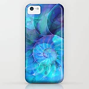 Society6 - Blue Nautilus Shell - Seashell Art By Sharon Cumm¡­ iPhone & iPod Case by Sharon Cummings