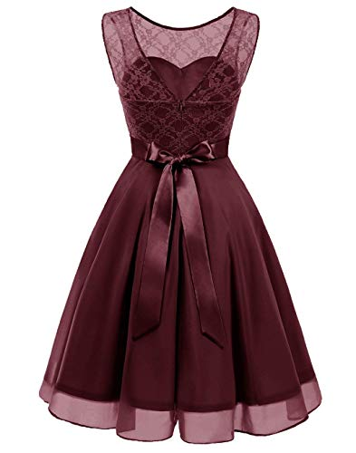 Chiffon Short Floral Women Lace A Wine Dresses line Sleeveless VERNASSA Bridesmaid Prom Homecoming Party Gown Red Cw1atWxwq0