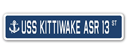 USS KITTIWAKE ASR 13 Street Sign navy ship veteran sailor vet usn gift