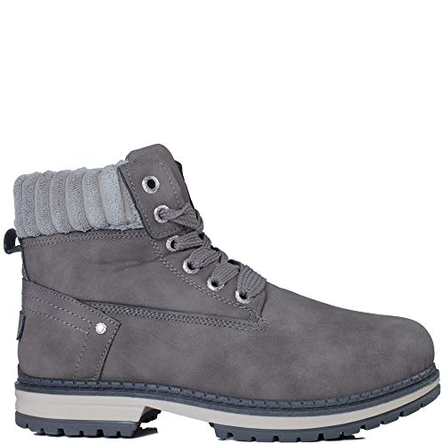 SZ Grey Flat Boots Ankle 4 Leather Shoes Lace Up Style nCHwAX5q8x