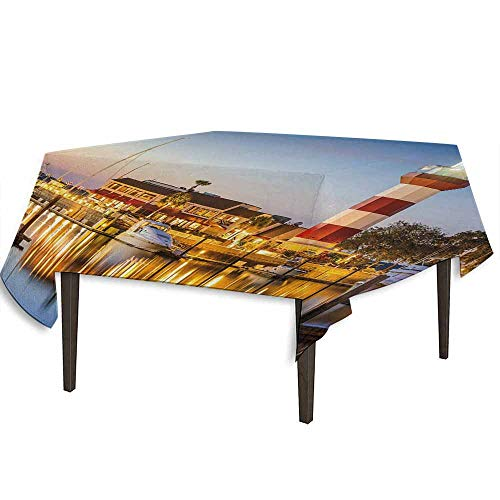 kangkaishi United States Printed Tablecloth Hilton Head South Carolina Lighthouse Twilight Water Reflection Boats Idyllic Outdoor and Indoor use W54.3 x L54.3 Inch Multicolor