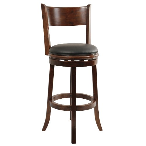 Boraam 47129 Palmetto Bar Height Swivel Stool, 29-Inch, Walnut