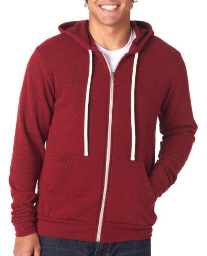 Bella + Canvas Unisex Triblend Sponge Fleece Full-Zip Hoodie, Red Triblend, (Lucky Full Zip Sweatshirt)