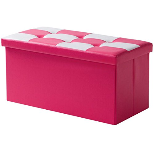 """Price comparison product image Double Seat Leather Folding Storage Ottoman Bench 30""""x15""""x15"""",  Foldable Organizer Ottoman Footstool For Living Room Bedroom DSO007 (Rose)"""
