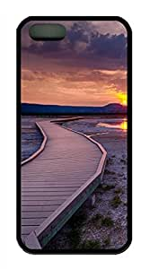 iPhone 5S TPU Black Color Soft iPhone Case Latest style Case Suit iPhone5/5S Very Nice And Ultra thin Case Easy To OperateWooden Bridge On Grassland