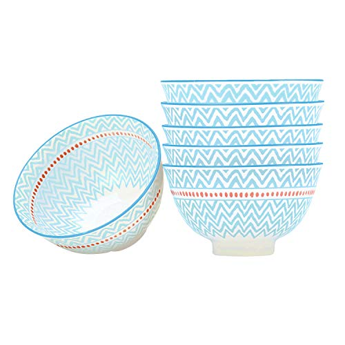 (4.5 Inch Ice Cream, Dessert, Fruit Bowls Set of 6, Porcelain Tableware for Kitchen, Restaurant, Party, Gifts - Light Blue)