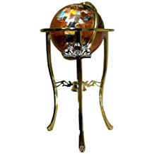 Unique Art 330-GTH-AMBER-GOLD 36-Inch by 13-Inch Floor Standing Amberlite Ocean Gemstone World Globe with Gold Tripod