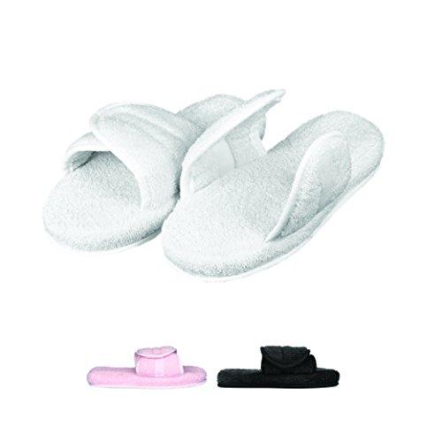 Cotton Slide - EuropeanSoftest Women's Cozy Memory Foam Soft Premium 100% Turkish Terry Cotton Cloth Open Toe Spa Slide House Indoor Slippers (White, Large)
