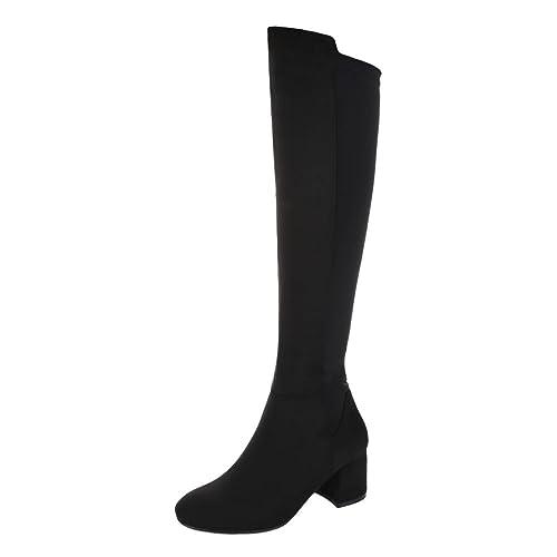 Blockabsatz Stiefel Ital Klassischer Damenschuhe Design Reißverschluss Overknees 4RL3Aj5