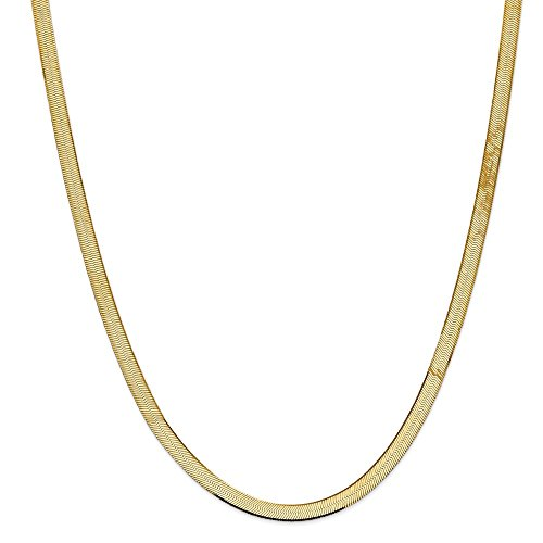 Real 14kt Yellow Gold 5.5mm Silky Herringbone Chain; 30 inch ()