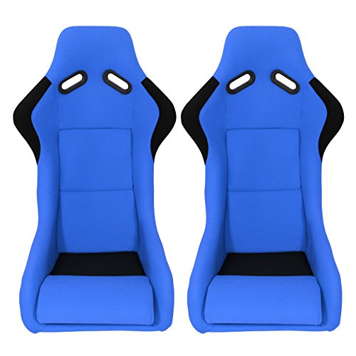 ModifyStreet 1 Pair Universal Black Fabric Fiberglass Pole Position Racing Bucket Seats