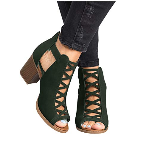 Liyuandian Womens Platform Open Toe Ankle Strap Zipper Back High Heel Sandals Green 10