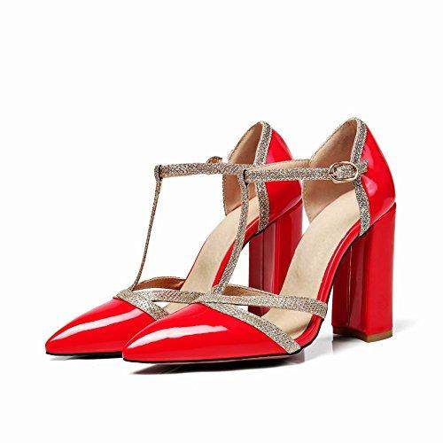 MissSaSa Damen Chunky High Heel t-Steg Leder-Pumps Rot