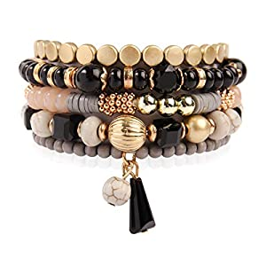 Bead Multi Layer Versatile Statement Bracelets – Stackable Beaded Strand Stretch Bangles Sparkly Crystal, Tassel Charm