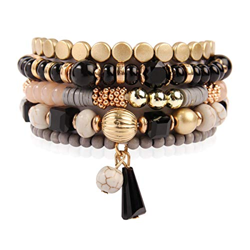 RIAH FASHION Bead Multi Layer Versatile Statement Bracelets - Stackable Beaded Strand Stretch Bangles Sparkly Crystal, Tassel Charm (Bohemian Mix - Black)