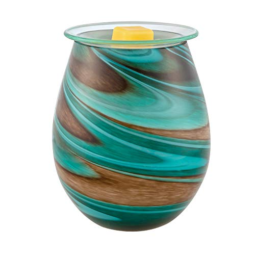 SUNPIN Electric Candle Warmer Art Glass Aromatherapy Wax Melts Burner Aroma Night Light Decorative Lamp for Gifts Home and Decor (Brown and Blue)