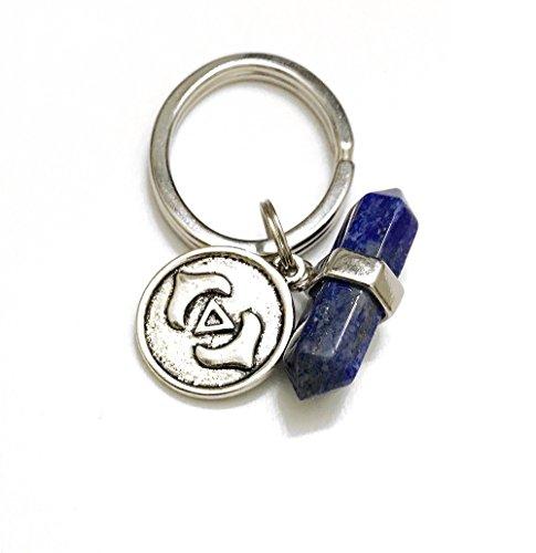 KarmaArm Keychain THIRD EYE Chakra Charm Key Rings Reiki Healing Gemstone Lapis Keyring Meditation Key (Gemstone Lapis Keychain)