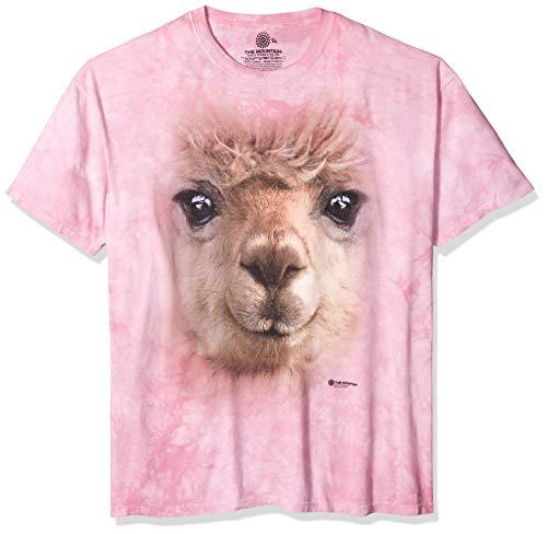 (The Mountain Big Face Alpaca Adult T-Shirt, Pink, XL)