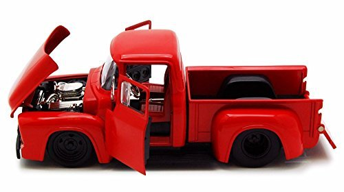 1956 Ford F-100 Pickup Truck, Red - Jada Toys Bigtime Muscle 90484 - 1/24 scale Diecast Model Toy Car