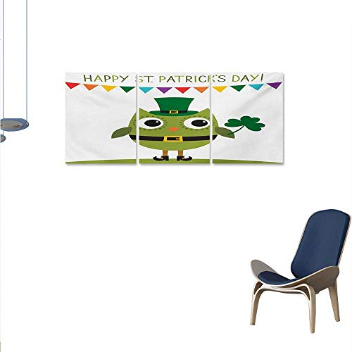 St. Patricks Day Wall Paintings Owl with Leprechaun Costume Greeting Design for Party Shamrock Pattern Print On Canvas for Wall Decor 24