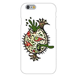 "Apple iphone 4 4s Custom Case White Plastic Snap On - ""Zombie Blowfish"